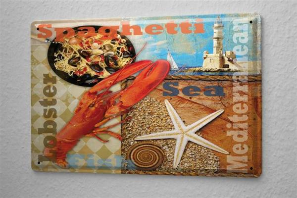 Deko Mediterran blechschild essen restaurant deko mediterran hummer spaghetti metalls