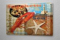 Tin Sign Food Restaurant Decoration Mediterranean lobster...