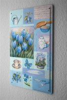 Tin Sign Plants Decoration Tulips plum butterfly 8X12""