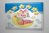 Tin Sign Fun Birthday Card Shield Baby Stars Moon Metal...