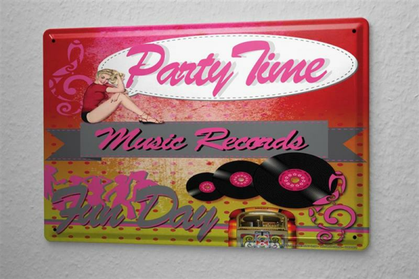 Blechschild Party Time Jukebox Metall Deko Schild 20X30 cm