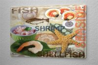 Tin Sign Food Restaurant Decoration Fish shrimp...