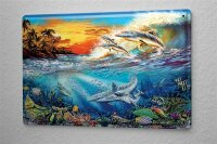 Tin Sign Fantasy  Gothic dolphins  Decorative Wall Metal...
