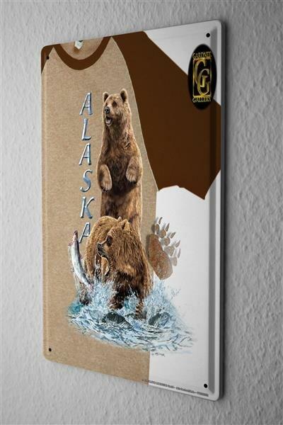 Blechschild Welt Reise Alaska Lachsfang Bären Wand Deko Schild 20X30 cm