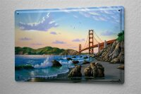Blechschild Welt Reise Golden Gate Bridge San Francisco USA Strand