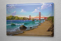 Blechschild Weltenbummler Golden Gate Bridge San...