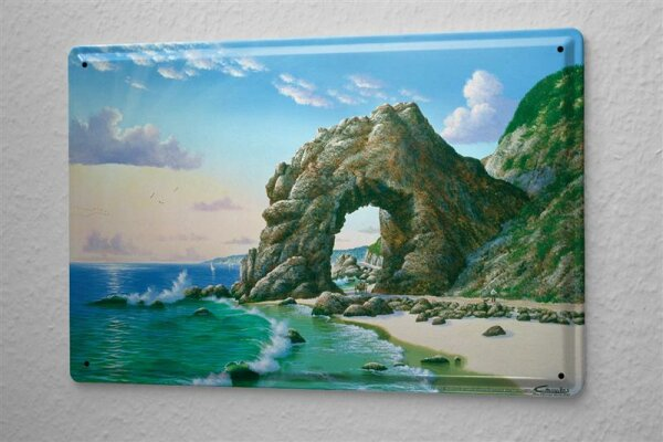 Blechschild Weltenbummler Strand Meer Steinformation