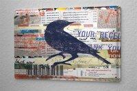 Tin Sign Bird Species black raven clippings