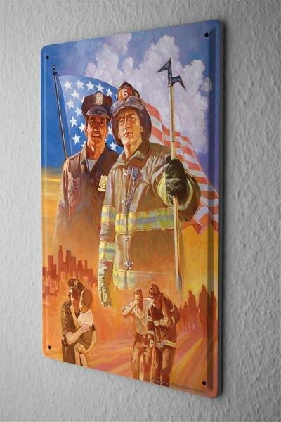 Blechschild Retro USA Flagge Polizei Feuerwehr Rettung