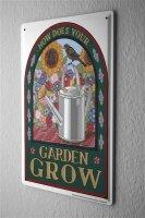 Tin Sign Sayings Garden watering can flower bird