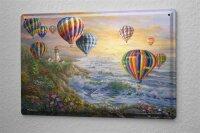 Blechschild Fun bunte Heißluftballons Leuchttum...