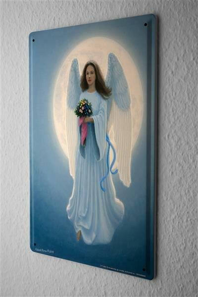 Blechschild Gothik Engel blaue Schleife Blumenstrauß Traumwelt