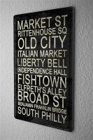 Blechschild Fernweh Stadt Philadelphia Sehenswürdigkeiten