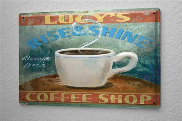 Blechschild Restaurant Küche Tasse Kaffee Coffee Shop