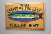 Tin Sign Coastal Marine Holiday house on the lake pike boat