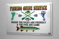 Tin Sign Angler Home Fishing guide rules Pisces paddle...