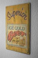 Blechschild Bier Bar Kneipe eisgekühlt frisch gezapft Bierkrug