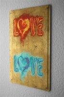 Blechschild Fantasy Gothik Schriftzug LOVE rot und blau brennendes Herz