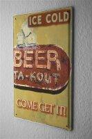 Blechschild Brauerei Bier Küche eisgekühlt Eiswürfel