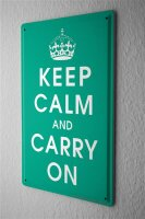 Tin Sign Retro Keep Calm and Carry on crown green