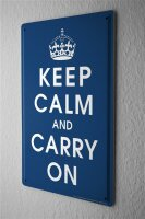 Tin Sign Retro Keep Calm and Carry on crown dark blue