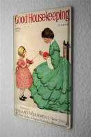 Tin Sign Children little girl helping mother in wool roll