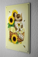 Tin Sign Cat Breed Kitten in a basket sunflowers bees