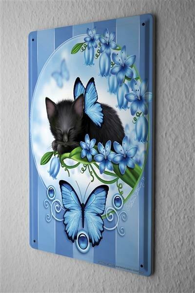 Blechschild Katze schwarzes Kätzchen blaue Blumen Schmetterling