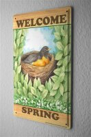 Tin Sign Fun Kitchen Welcome Spring Birds Nest leaves