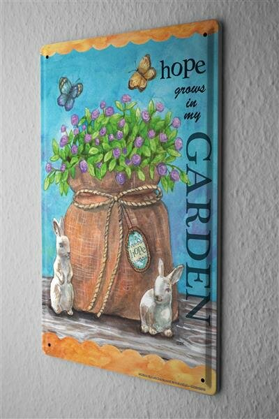 Tin Sign Kitchen Blue flowers bag bunny butterflies garden hope