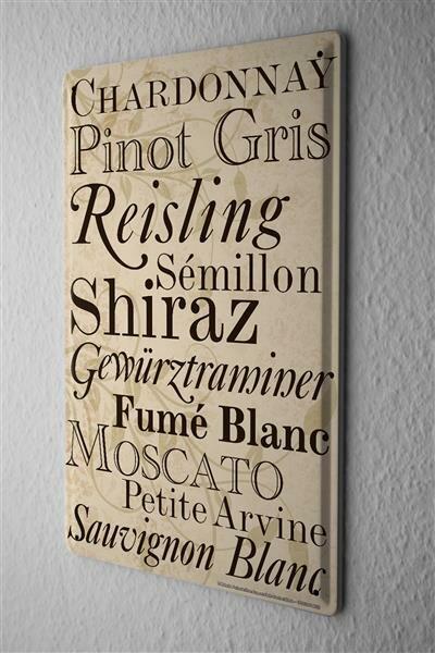 Blechschild Retro Motiv Weinsorten Weisswein Liste