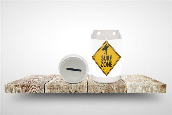 Spardose Achtung Warnschild Surf Zone Keramik bedruckt