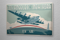 Tin Sign Retro Los Angeles to New York Aircraft