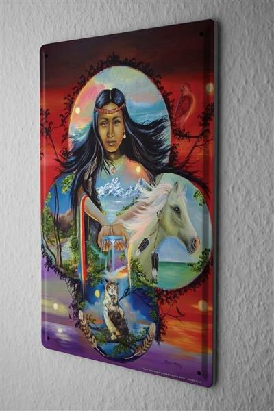 Blechschild Nostalgie Western Style Indianerfrau Pferd Eule Wasser Hände