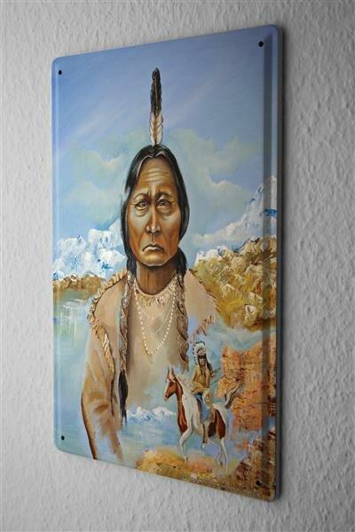 Blechschild Western Cowboy Indianer alte Indianerfrau Pferd Krieger Berge
