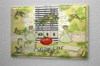 Blechschild Essen Restaurant Deko Olivenöl Olivenzweige Tomate Metallschild 20X30 cm