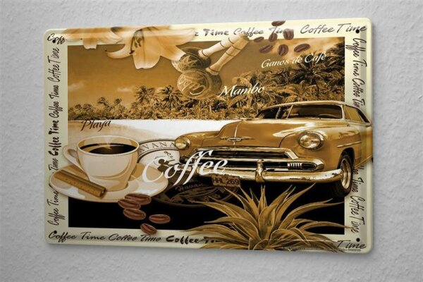 Blechschild Welt Reise Kuba Oldtimer Strand Kaffee Wand Deko Schild 20X30 cm