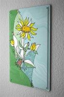 Blechschild Pflanzen Deko abstrakte Blume weiss gelbe...