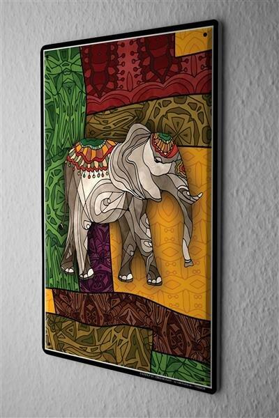 Blechschild Afrika Elefant geschmückt mehrfarbiger Hintergrund Metall Deko Wand Schild 20X30 cm