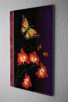 Tin Sign Flora Floral Decoration  Butterfly on red flower...
