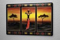Blechschild Welt Reise Afrika Steppe Frau Wand Deko Schild 20X30 cm