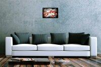 Blechschild Küchen Deko Blume Mohn schwarz weisser Hintergrund Metallschild 20X30 cm