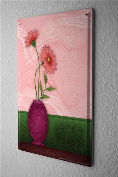 Blechschild Küchen Deko rosa Blume in lila Blumenvase Metallschild 20X30 cm