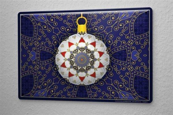 Blechschild Weihnachten Deko Christbaumkugel goldene Ornamente Metallschild 20X30 cm