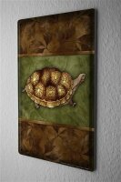 Tin Sign Kitchen Decor  Tortoise brown leaves 8X12""