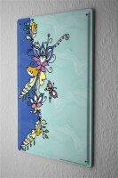 Tin Sign Fantasy Motif  colorful floral butterfly...