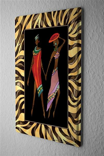 Tin Sign World Tour  African couple with yellow brown striped frame Metal Plate 8X12""