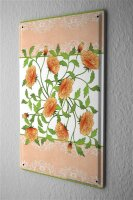 Tin Sign Plants Decoration  Cards motif orange flowers...
