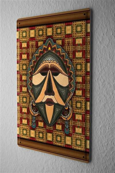 Blechschild afrikanische Maske Metall Deko Schild 20X30 cm