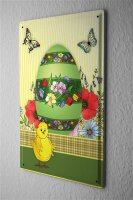 Nostalgic Tin Sign  Painted Easter egg with colorful...